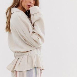 NWT Free People Joani Jacket Almond Peplum Size S